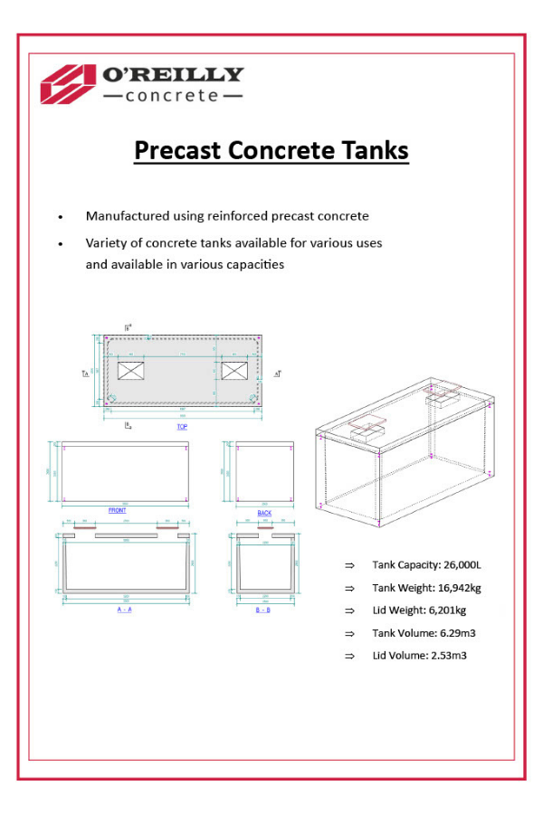 Precast Concrete Tanks Technical Sheet